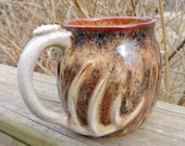 18 oz deer antler mug handmade stoneware pottery gift for the hunter coffee camoflauge 010