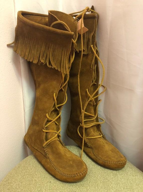 Vintage Minnetonka suede fringe boots