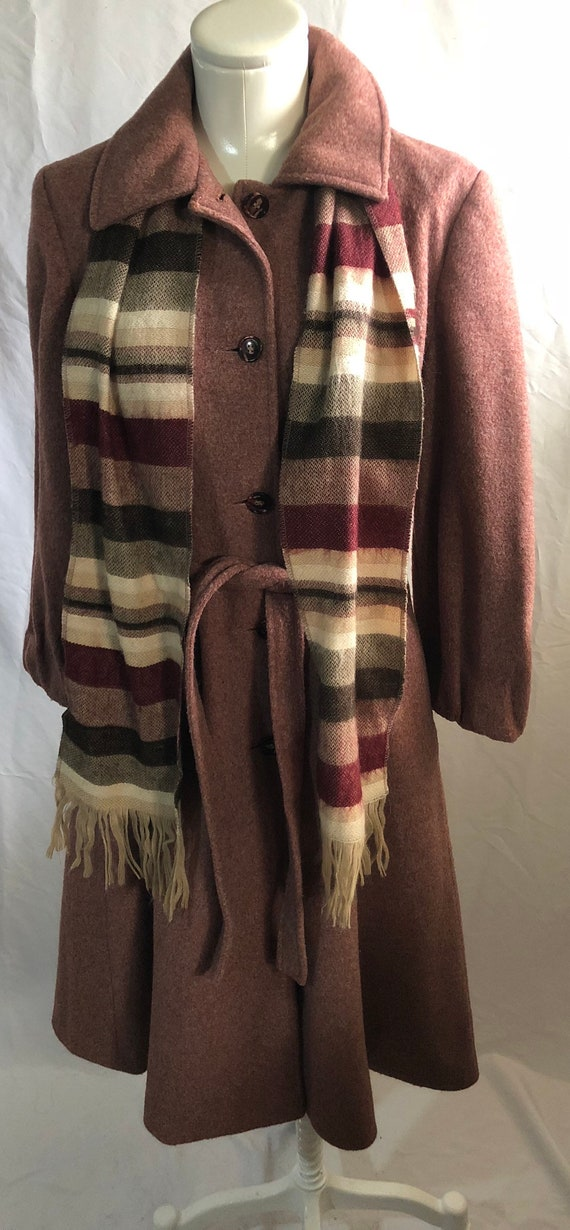 1940's inspired mauve vintage coat with scarf