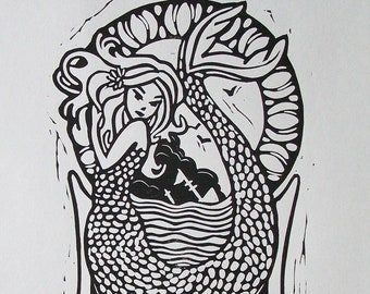 CALL of the SEA original block print of mermaid