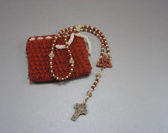 Brown Sea Fossil Rosary with Crocheted Bag