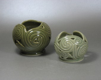 A Pair of Celadon Celtic Spirals Candle Globes