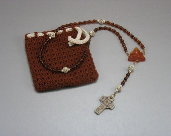 Tortoise Glass Rosary with Crocheted Bag
