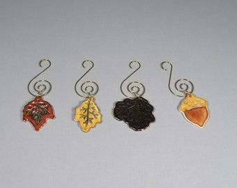 Set of 4 Autumn Leaf & Acorn Ornaments