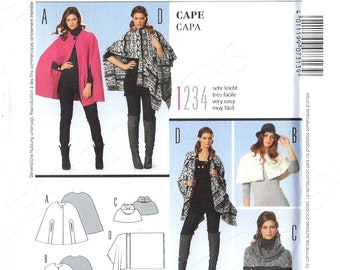 Burda 7035 Set of shoulder wraps stole shawl cape vest Size 10 12 14 16 18 20 22 uncut sewing pattern