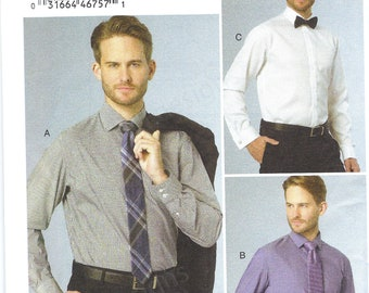 Uncut vogue sewing pattern 9220 Men's Standard, Tailored, or Slim Fit Button-Down Shirts  Size Chest 34 36 38 40 40-46  FF