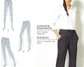 Uncut Simplicity sewing Pattern 8056 Fit - Women's Flared Legged Pants or Shorts with controur waistband  - sz AA 10-18 FF