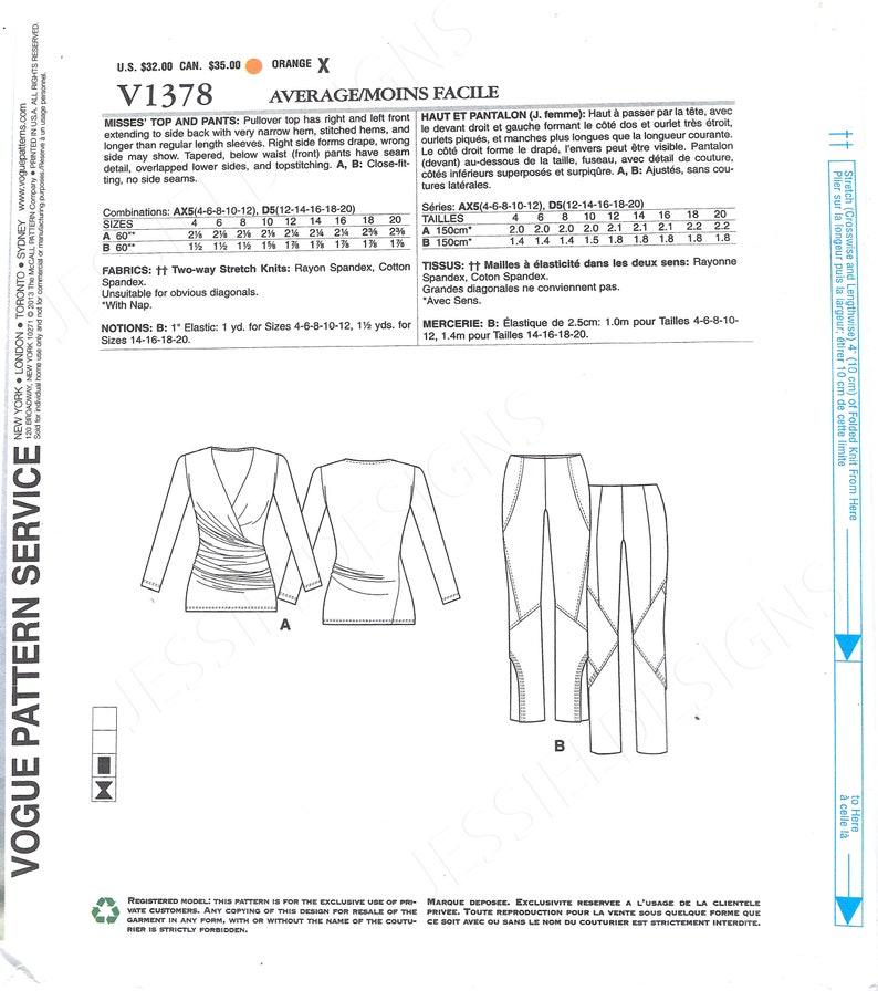 Below-Waist Leggings FF Uncut vogue sewing pattern 1378 Women Designer Knit Top /& Pants Sizes 4-12 Women Close-Fit Pullover Top