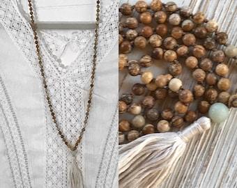 Mala Necklace,108 Beaded Mala, Picture Jasper Mala, Yoga Jewelry, Amazonite, Mala Beads, Knotted Mala, Meditation, Yoga, Tassel Necklace