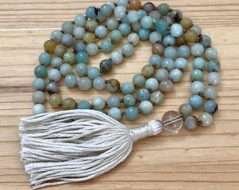 Amazonite Mala, Knotted Mala, Mala Beads, Tassel Necklace, Yoga, Meditation