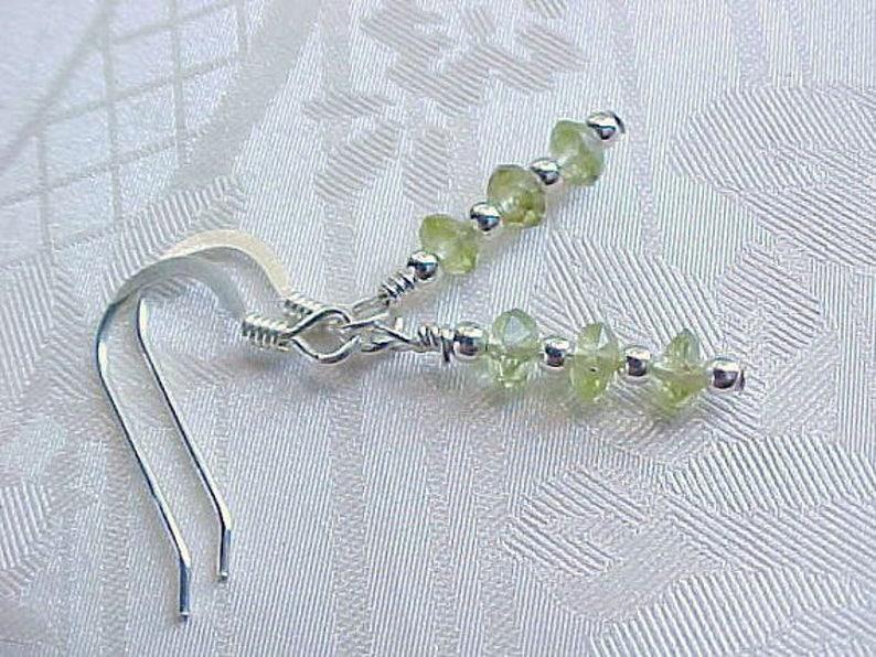 Genuine Peridot Earrings Minimalist Earrings Dainty Earrings image 0