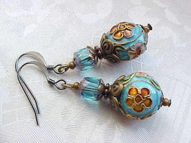 Marie Antoinette Earrings Fancy Cloisonne Earrings Green image 0
