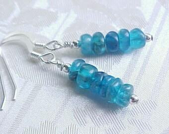Genuine Apatite Earrings Dark Blue Apatite Earrings Beach Earrings Aqua Blue Earrings Blue Gemstone Stack Earrings Sterling Silver Handmade