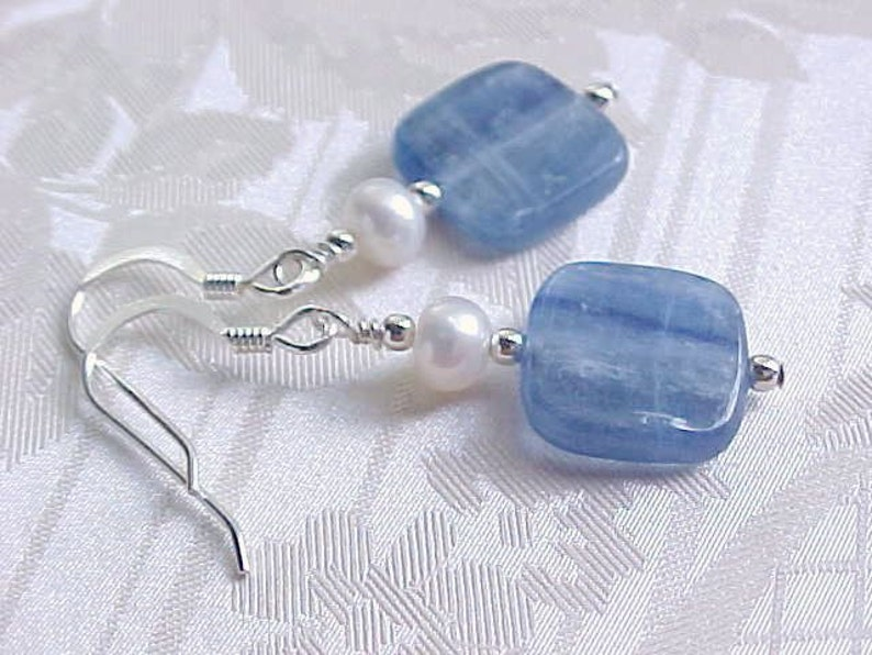 Kyanite Earrings Electric Blue Earrings Genuine Kyanite & image 0