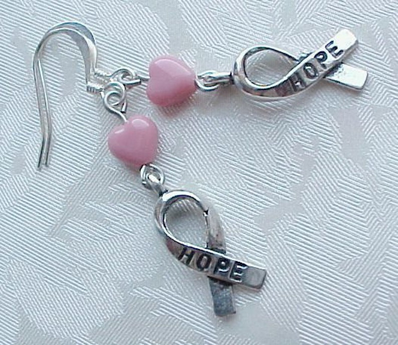 Pink Breast Cancer Earrings Pink Ribbon Earrings w Pink Glass image 0