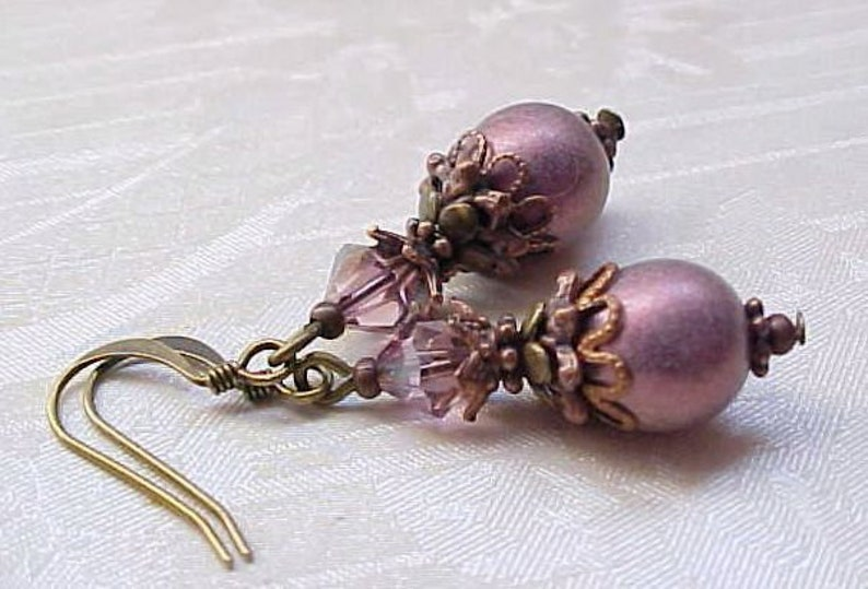 Mauve Earrings Pink Victorian Earrings Victorian Pink Earrings image 0
