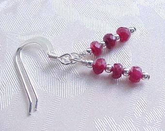 Genuine Ruby Earrings Natural Ruby Earrings Faceted Rubies Red Ruby Gemstone Stack Earrings Sterling Silver July Birthstone July Birthday