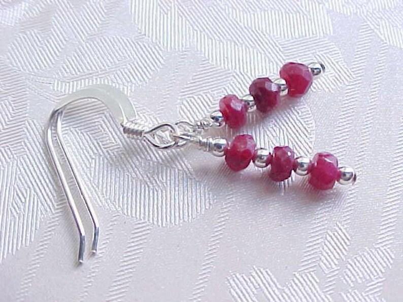 Genuine Ruby Earrings Natural Ruby Earrings Faceted Rubies Red image 0