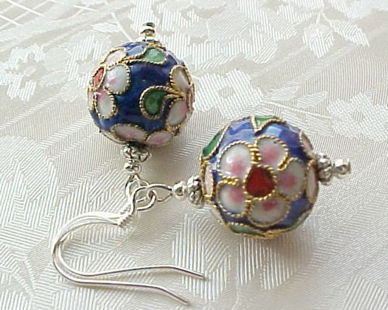 Christmas Cloisonne Earrings Minimalist Asian Earrings Cobalt image 0
