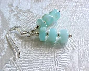 Blue Peruvian Opal Earrings Genuine Opal Earrings Aqua Earrings Dainty Gemstone Stack Earrings October Birthstone Libra Birthday Scorpio