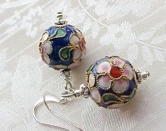 Cloisonne Earrings Asian Earring Cobalt Blue Lightweight Earrings