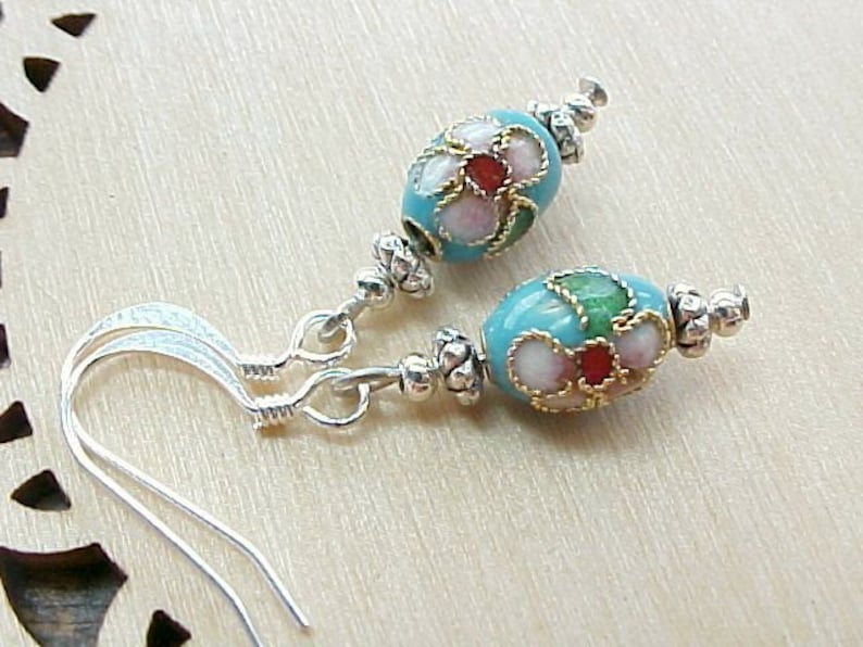 Easter Earrings Cloisonne Earrings Mini Easter Egg Earrings image 0