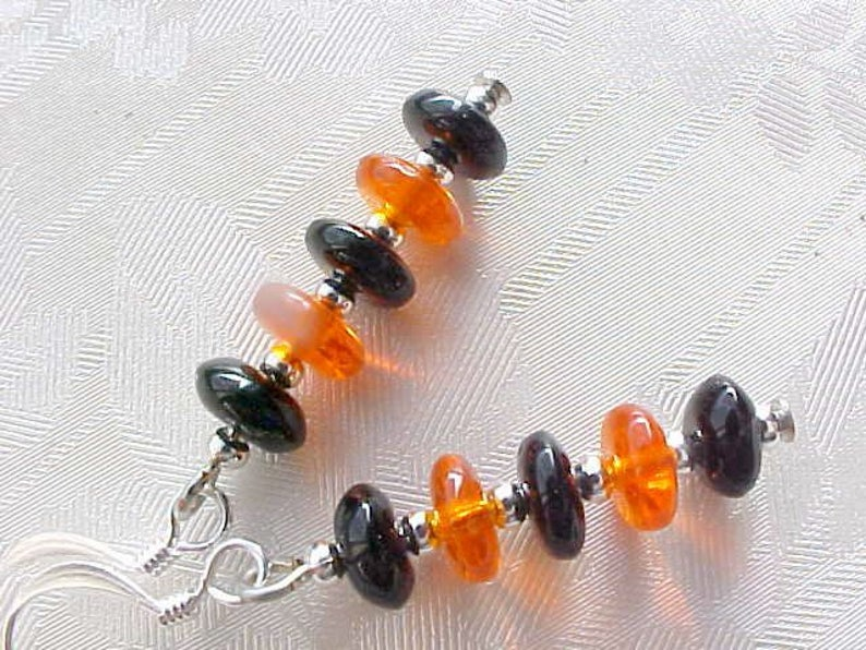 Halloween Minimalist Earrings Space Age Czech Glass Earrings image 0