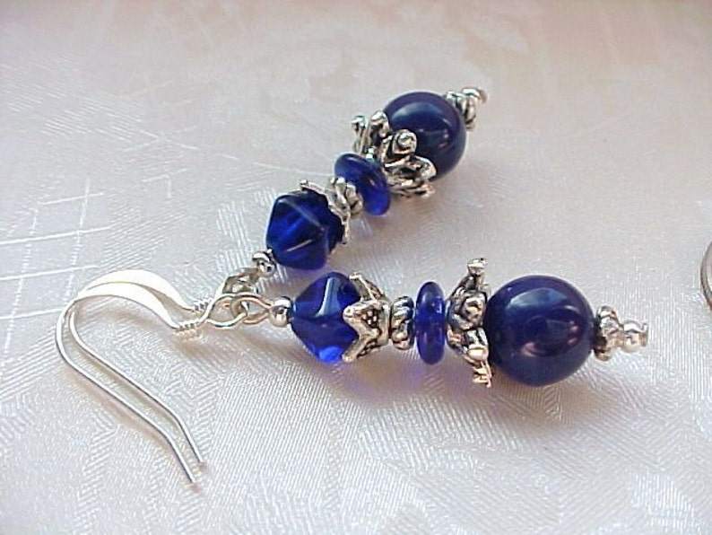 Navy Blue Earrings Navy Earrings Midnight Blue Earrings Dark image 0