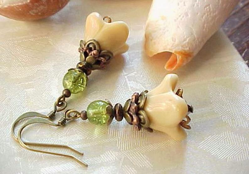 Fuchsia Earrings Romantic Earrings Steampunk Earrings image 0