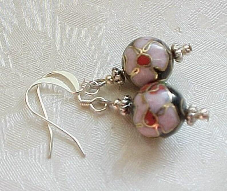 Floral Cloisonne Earrings Asian Earrings Cherry Blossom image 0