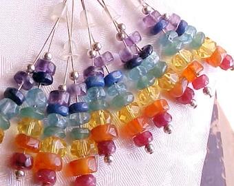 Real Gemstone Rainbow Earrings Rainbow Chakra Earrings Meditation Yoga Earrings Gemstone Stack Earrings Energy Work Earrings Sterling Silver