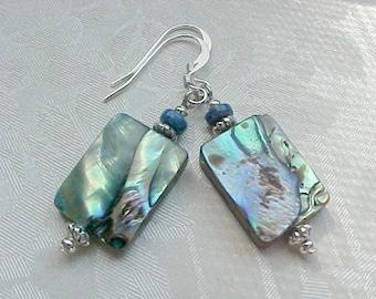 Blue Rainbow Abalone Earrings Genuine Abalone Shell Earrings Beach Earrings Drop Beach Wedding Earrings Paua Earrings Paua Shell Earrings