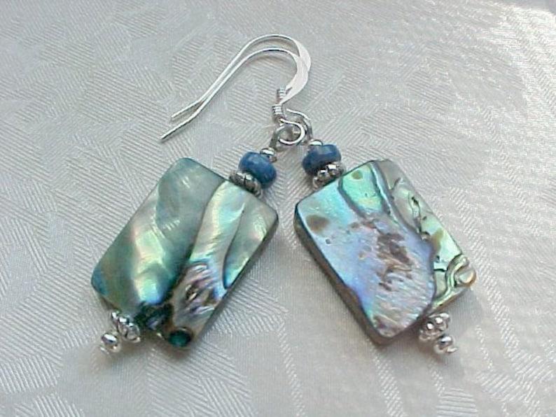 Beach Earrings Abalone Earrings Genuine Abalone Shell Earrings image 0