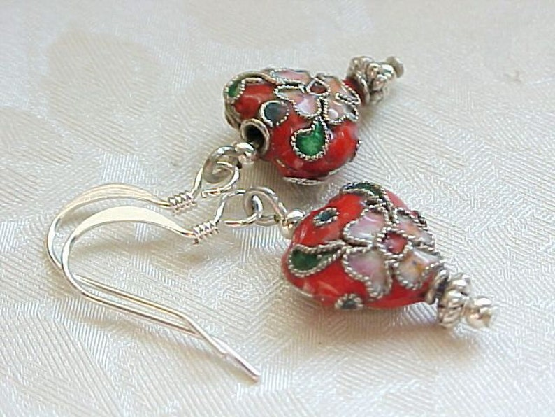 Valentines Day Red Heart Earrings Cloisonne Earrings Red image 0