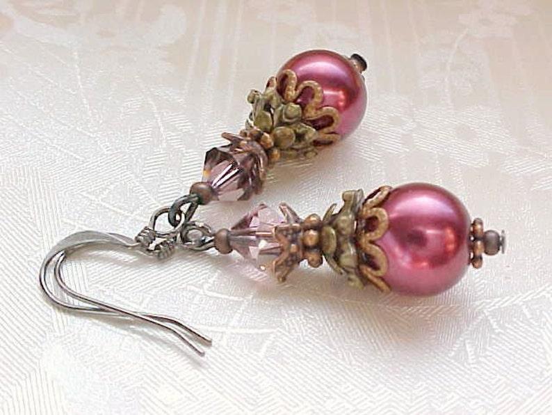 Christmas Earrings Blood Red Earrings Cranberry Earrings image 0