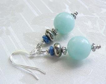 Beach Earrings Genuine Amazonite Earrings Aqua Blue Lapis Brown Pyrite Natural Gemstone Earrings Birthday Gifts For Women Summer Seashore