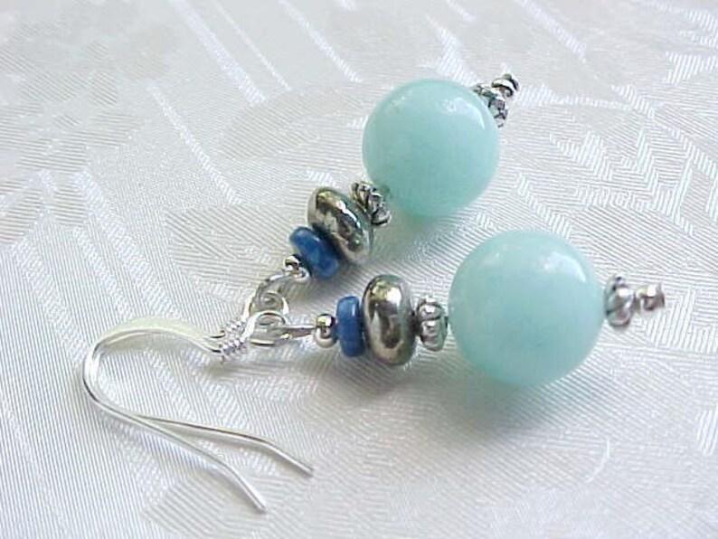 Amazonite Earrings Beach Earrings Aqua Earrings Blue Earrings image 0