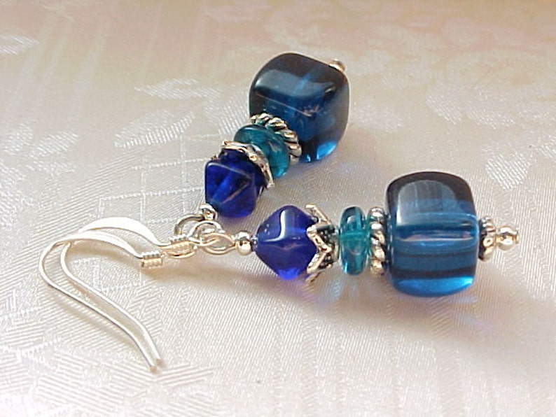 Capri Blue Earrings Teal Blue Earrings Beach Earrings Cerulean image 0