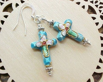 Christian Cross Earrings Cloisonne Earrings Religious Earrings Lightweight Earrings Christian Earrings Catholic Earrings Baptism Gift Girl
