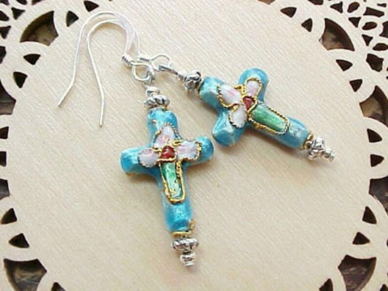 Christian Cross Earrings Cloisonne Earrings Religious Earrings image 0