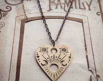 Antiqued brass planchette necklace ... choose long or short chain