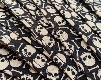 Cotton skull & bones print mask ... Washable reusable unisex adult accordion fold off-white and black