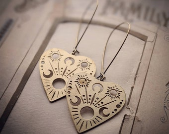 Planchette earrings ... antiqued brass