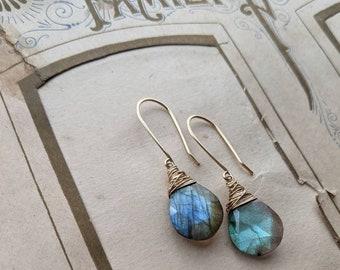 Labradorite drop earrings ... petite