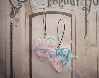 Planchette earrings ... transparent iridescent