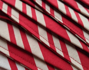 Cotton stripes mask ... Washable reusable unisex adult accordion fold tea-stained white and red