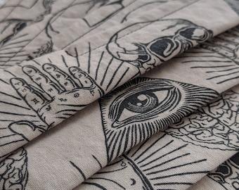 Cotton esoteric symbols mask ... Washable reusable unisex adult accordion fold off-white and black