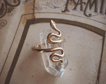 Simple bronze snake ring ... adjustable