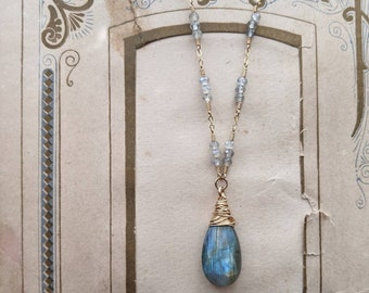 Labradorite Necklace ... 14k gold filled wire wrapped faceted labradorite rondelles and drop
