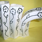Black and White Triple Flower Vase